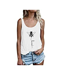Be Kind Tank Top Women Casual Summer Loose Fit Bee Graphic Print Sleeveless Scoop Neck Shirts Tunic Tops Tees