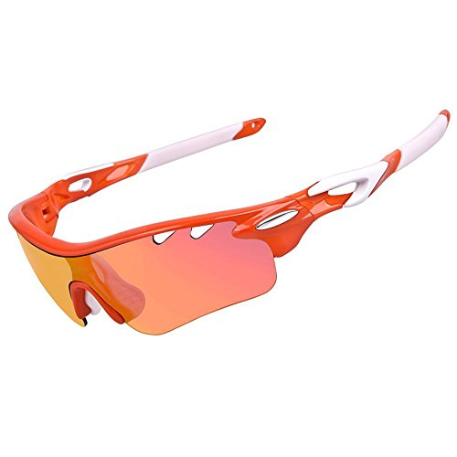 Yomeni Polarized Sports Sunglasses with 5 Interchangeable Lenses, for Men Women Cycling Baseball Running Fishing Driving Golf, Tr90 Unbreakable (Orange&white frame)