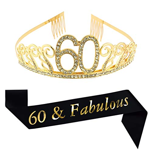 60th Birthday Gold Tiara and Sash, Glitter Satin Sash and Crystal Rhinestone Tiara Birthday Crown for 60th Birthday Party Supplies Favors Decorations 60th Birthday Cake Topper -