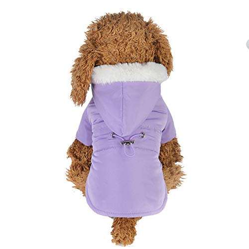 (Lookvv Cute Dog Sweaters Puppy Winter Warm Clothes Hooded Jumpsuit Hoodie Clothes Apparel Dogs Pet Purple)