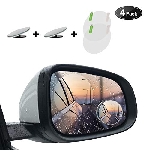 Blind Spot Mirror, ATHM 2 Round HD Glass Convex Aluminum Frame Wide Angle Rear View Mirror For All Universal Vehicles Car Suv, Two Anti-Fog Films Included (Pack Of 2)