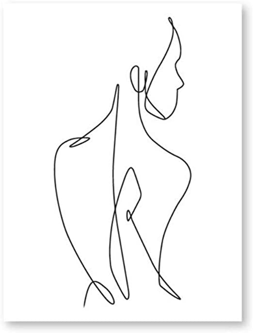 Amazon Com Hyfbh Continuous Line Art Female Body Figure Drawing Painting Art Poster Woman Backside Black White Print Home Wall Decor 50x70cm With Frame Posters Prints