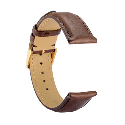 WOCCI Leather Watch Band,Brown Vintage Watch Strap with Gold Stainless Steel Pin Buckle for Men or Women