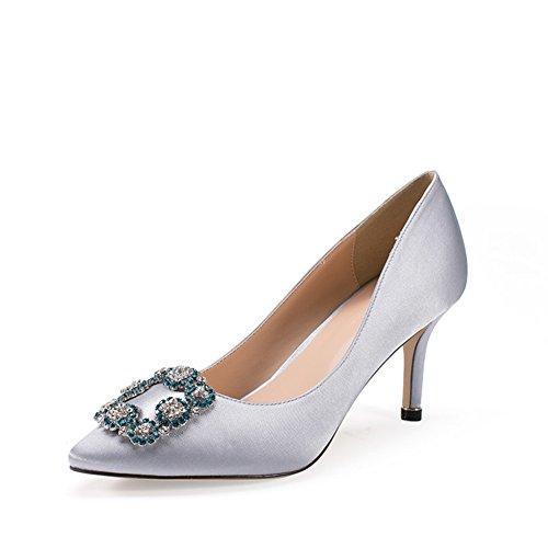 Schuhe Heel A Shoes Mouth Fußlänge PUMPS Womens Heel 8CM Fine 21 Schnalle Schuhe Autumn Kinder 6Inch 8 Schuhe Ferse Square Schuhe BBqzx0