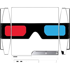 3D Glasses Red and Blue Lens Playstation 3 & PS3 Slim Vinyl Decal Sticker Skin by Moonlight Printing