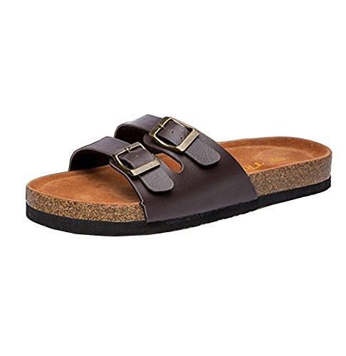 Homme Chaussures Femme Adulte Liège Pantoufles Boucles de d'été Deux Sandales Marron Plage Unisexe Confort pour wfYqF0rfnB