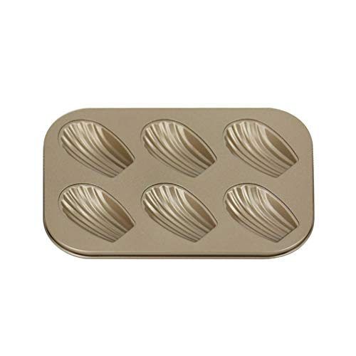 Madeleine Tray,Metallic Professional Non-Stick 6/12-Hole Madeleine Bake Mold,Carbon Steel Madeleines Baking Tray DIY Durable Cake Mould Pan Mold For Madeline Cake Bread(6 Holes,Gold)