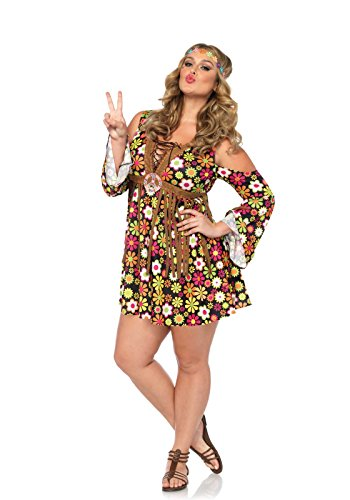[Leg Avenue Women's Plus Size Starflower Hippie Costume, Multi, 3X-4X] (Plus Size Costumes)