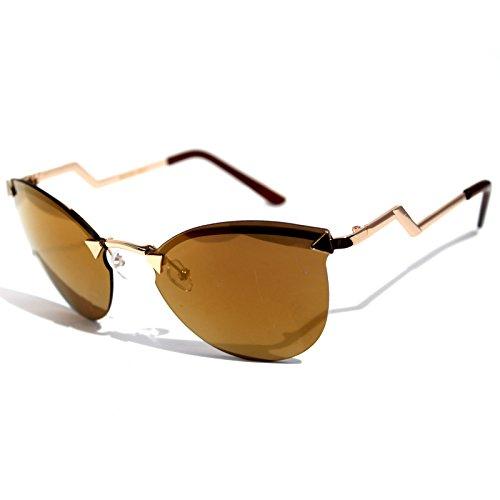 - CB20-3 Sexy Semi Rimless Cateye Women's Sunglasses Gradient Lens Metal Frame