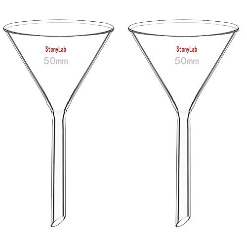StonyLab 2-Pack Glass Heavy Wall Funnel Borosilicate Glass Funnel, 50mm Diameter, 50mm Stem Length