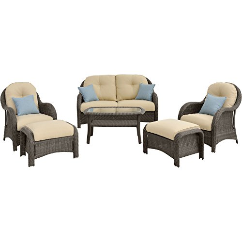 Cambridge MORROW6PC-CRM Woven Outdoor Furniture, (Cambridge Rectangular Table)