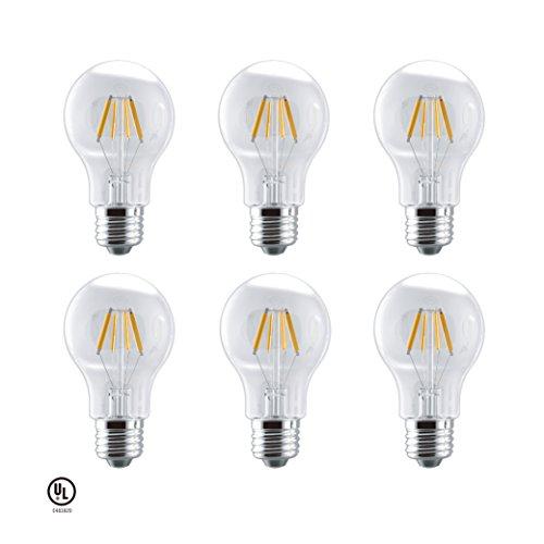 5w Led Bulbs (LUNO A19 Dimmalbe Filament LED Bulb, 5W(40W Equivalent), 450 Lumens, 2700K (Soft White), Medium Base (E26), UL Certified (6-Pack))