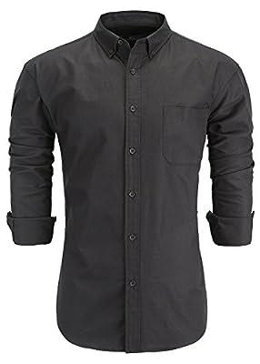 Emiqude Men's 100% Oxford Cotton Slim Fit Long Sleeve Button Down Solid Dress Shirt