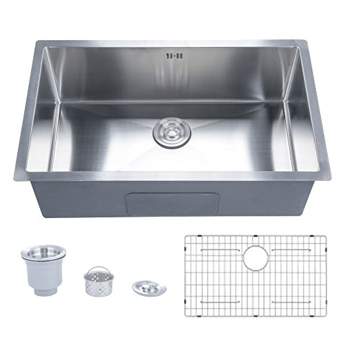 CO-Z Deep Stainless Steel Home Kitchen Single Bowl Sink with Overflow, Modern Undermount Drop-in 16 Gauge Large Kitchen Sink for Farmhouse w/Strainer and Sink Grid 30