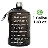 QuiFit 1 Gallon Water Bottle Reusable Leak-Proof Drinking Water Jug for Outdoor Camping Hiking BPA Free Plastic Sports Bottle(Black)
