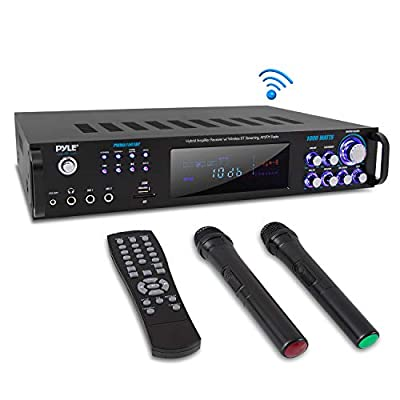 4 Channel Bluetooth Power Amplifier - 1000W Home Audio Rack Mount Stereo Receiver w/AM FM Radio, USB, Headphone, Dual Wireless Mic w/Echo for Karaoke, LED, for Speaker Sound System - Pyle PWMA1003BT