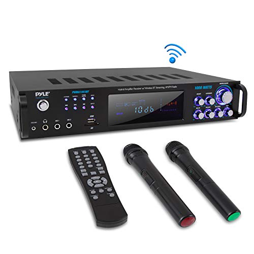 4 Channel Bluetooth Power Amplifier - 1000W Home Audio Rack Mount Stereo Receiver w/AM FM Radio, USB, Headphone, Dual Wireless Mic w/Echo for Karaoke, LED, for Speaker Sound System - Pyle PWMA1003BT 120w 8 Ohm Guitar