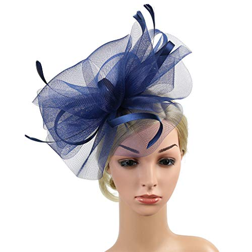 iNoDoZ Women's Elegant Hair Accessories Fascinator Hat Flower Feather Net Mesh Kentucky Derby Tea Party Headwear Navy]()