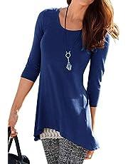 Uniquestyle 3/4 Ärmel Longshirt Damen Roundhals Pullover Lässige Oberteile Tops Lose Bluse Shirt Sweatshirt