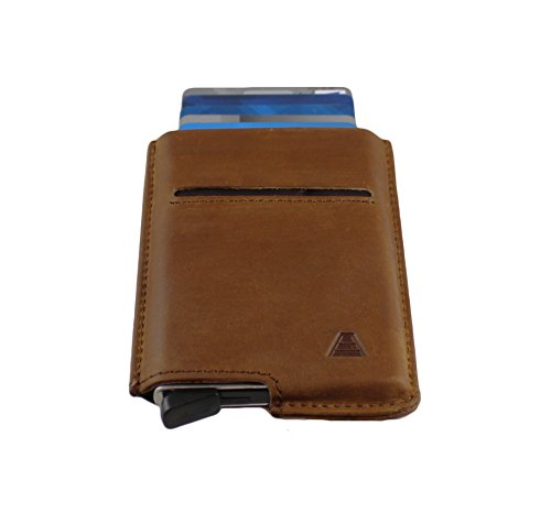 Andar Slim RFID Minimalist Card Case Full Grain Leather Wrapped - The Pilot (Saddle Brown) by Andar (Image #2)