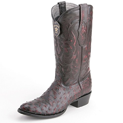 Men's Round Toe Black Cherry Genuine Leather Ostrich Skin Western Boots - Exotic Skin Boots -
