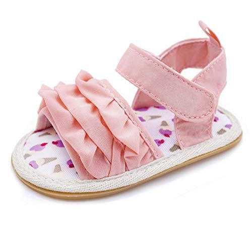 Mybbay Infant Baby Girls Sandals Rubber Soft Sole Summer Sweet Princess Dress Bowknot First Walker Shoes (12-18 Months Toddler, A04-little Pink)