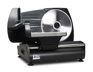Elite Gourmet EMT-503B Maxi-Matic 130 Watt Die-Cast-Aluminum Electric Food Slicer, Black