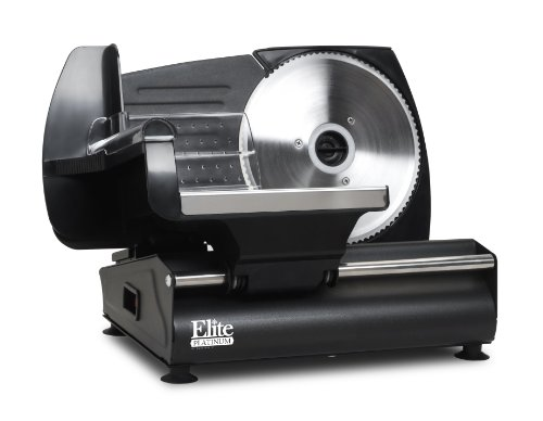 "Elite Platinum EMT-503B Ultimate Precision Electric Deli Food Meat Slicer, Removable Stainless Steel Blade, Adjustable Thickness, Ideal For Cold Cuts, Hard Cheese, Vegetables & Bread, 7.5"", Black"