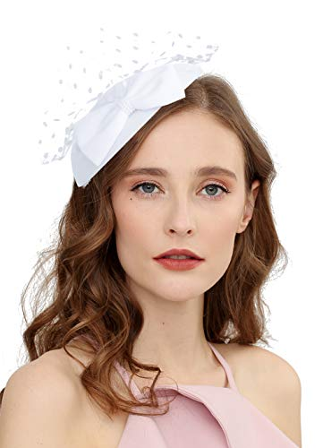 - Cizoe Fascinator Hair Clip Pillbox Hat Bowler Feather Flower Veil Wedding Party Hat Tea Hat(6-white)