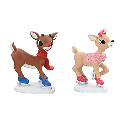 Department 56 Village Rudolph the Red-Nosed Reindeer and Clarice Skating Animated, 1.34 inch