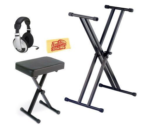 Yamaha PKBB1 Keyboard Bench Bundle with Adjustable Stand, Headphones, and Austin Bazaar Polishing Cloth by Yamaha
