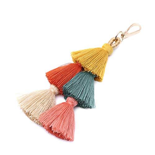 Tassel Pom Pom Key Chain Colorful Boho Charm Key Ring, Fashion Accessories for Women (N-color)
