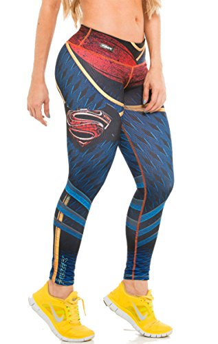 Fiber Batman v Superman Leggings Superhero Yoga Pants Women's Compression Tights (Twin Girl Costumes)