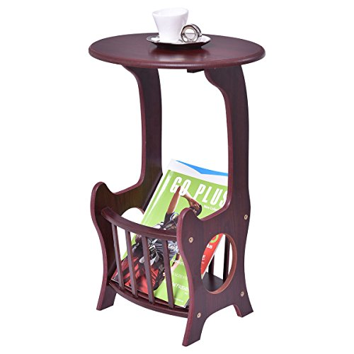 Oval End Table Coffee Couch TV Snack Chair Sofa Tray Side Wood w/ Magazine Rack (Oval Tv Tray)