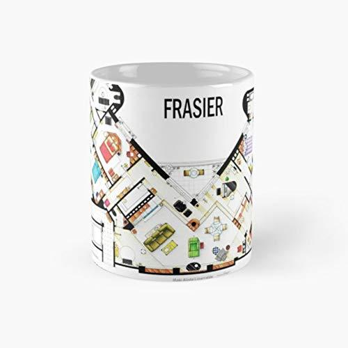 Frasier Apartment Floorplan Mug, interior design floorplan houseplan decoration interiorism s0eattle style class snob 11 Ounce Ceramic Mug, Perfect Novelty Gift Mug, Tea Cups ()