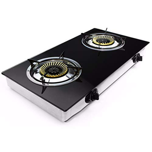 XtremepowerUS Deluxe Propane Gas Range Stove 2 Burner Cooktop Auto Ignition Outdoor Grill Camping Stoves Station LPG