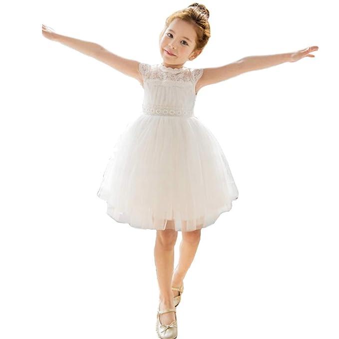 Amazon.com: Bow Dream - Vestido de encaje para niña, diseño ...