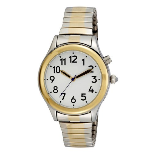 Two Tone Ladies Talking Watch White Face Choice of Voice- Expansion Band