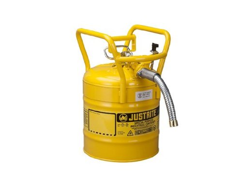 Justrite AccuFlow 7350230 Type II Galvanized Steel Transport and Dispensing Flammable Safety Can with 1'' Flexible Spout, 5 Gallon Capacity, Yellow