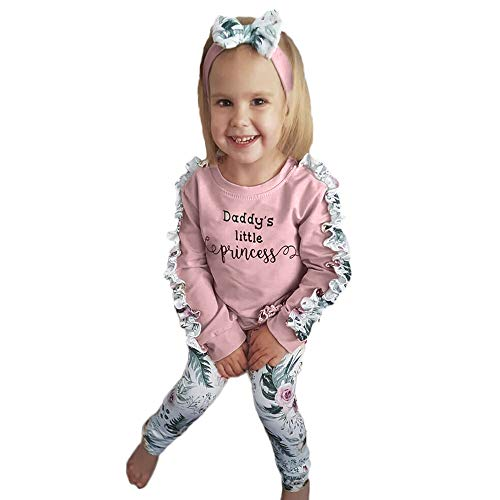 NUWFOR Baby Girls Kids Floral Clothes Long Sleeve T-Shirt+Pants+Headband Outfits Set(Pink,3-6Months by NUWFOR (Image #7)