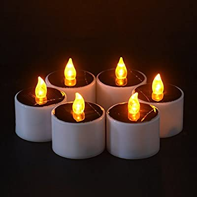 Flameless Candle, 6 PCS Solar LED Flameless Tea Lights Party Wedding Decoration Warm Yellow