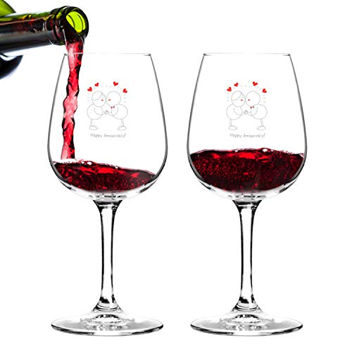 Happy Anniversary! Set of 2 Red or White Wine Glasses (12.75 oz.)- Romantic Gift Set - Made in USA - Cool Present Idea for Wedding Anniversary, Married Couples, Him or Her, Mr. or Mrs.
