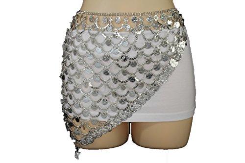 Tone Link Belt Chain Silver (TFJ Women Fashion Belt Silver Metal Coin Charms Hip Skirt Cardigan S M L)