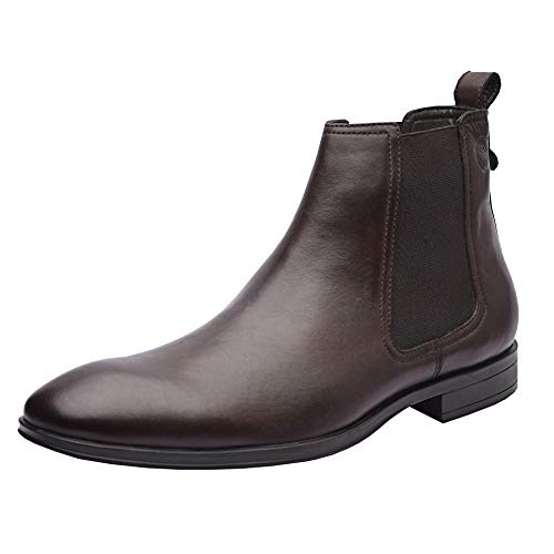 Allonsi Charles Men's Boots, Chelsea Boots, Ankle Dress Boot for Men, Formal Genuine Leather Plain Toe Chelsea Boots Men, Quality Low Heels, Slip-on with Rubber Sole (Brown, 9M US)