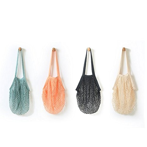 [Chris.W Portable/Reusable/Washable Cotton Mesh String Organic Organizer Shopping Handbag Long Handle Net Tote - Pack of 4(Grey Blue/Black/Beige/Pink)] (Purses Net)
