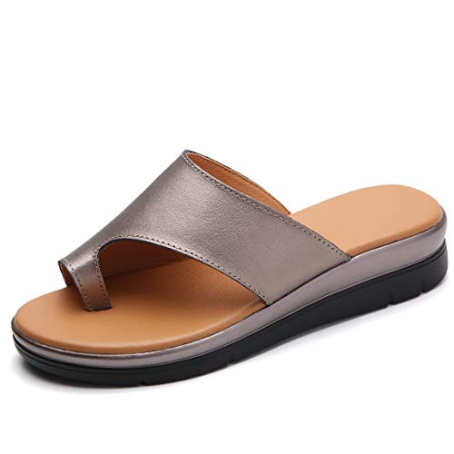 Bunion Sandals for Women Comfy - Bunion Corrector Platform Shoes BSP-2 Genuine Leather Women Flip-Flop Light Weight Ladys Shoes 2019 Size 9.5 Light Brown