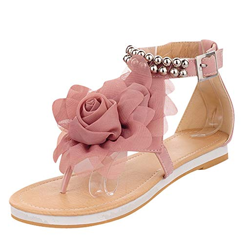 New Summer Fashion Flower Beaded Women's T Strap Sweet Flats Sandals Shoes (8.5, Pink) ()