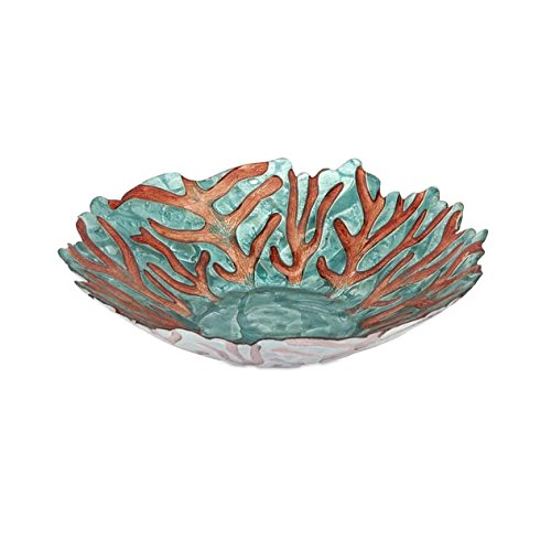 Christmas Tablescape Decor - Teal blue and copper sea fan glass bowl by IMAX