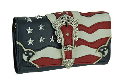 American Flag Rhinestone Buckle Dual Zip Around Western Wallet