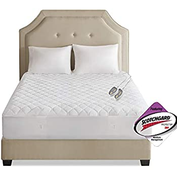 Beautyrest 3M Scotchgard Heated Mattress-Pad Secure Comfort Technology-Luxury Quilted Electric Deep Pocket-5-Setting Controllers-5 Year Warranty, Twin XL, White